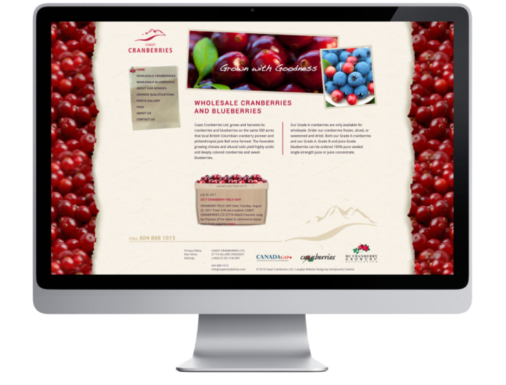 Coast Cranberries Ltd. Website